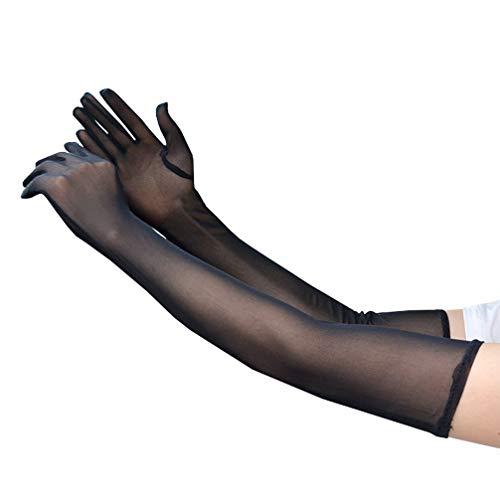 Luwint Sexy Extra Long Sheer Gloves for Women Girl Opera Halloween Costume Wedding Bridal (Black)