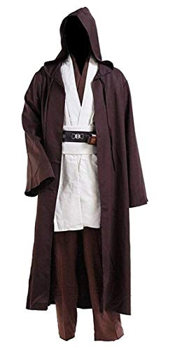 Fancycosplay Jedi Robe Cosplay Costume Set Brown with White Outfit Halloween with Belt and Pocket -