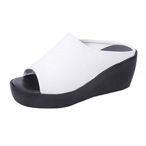 Compensées sandales de Été épais de Chausson Femme Tongs Femmes Mules Compensées Yesmile Pantoufles Chaussures Pantoufles Sandales Mode B Chaussures Fond Bouche Loisirs Poisson Plage Blanc YwfqFx