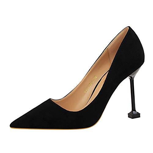Yukun zapatos de tacón alto Sección De Otoño De Tacón Alto con Punta Fina De Las Mujeres con 10Cm Negro Salvaje Solo con Zapatos De Boda Black