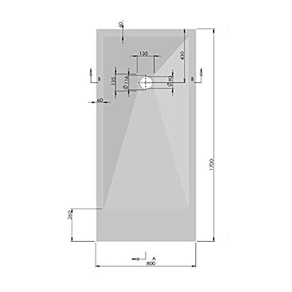 cm. 80 x 180 PIATTO DOCCIA STONE MARMORESINA EFFETTO PIETRA ARDESIA BIANCO RIDUCIBILE RIBASSATO CM 2,5 SLIM FLAT