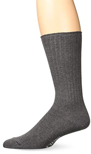 Chaps Men's Ribbed Solid Crew Socks, charcoal, Shoe Size: 6-12