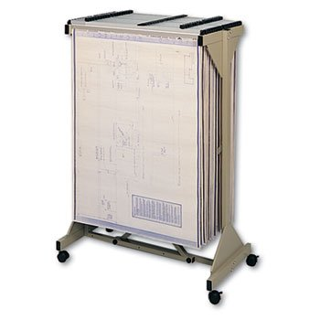 Safco Mobile Plan Center Sheet Rack, 18 Hanging Clamps, 4...