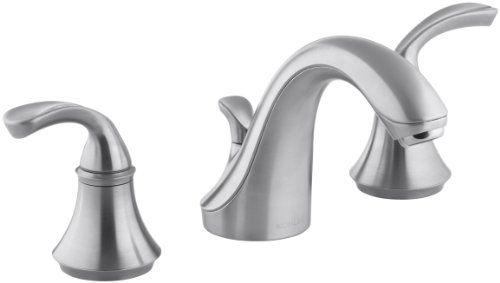 KOHLER Forte Sculpted K-10272-4-G 2-Handle Widespread Bathroom Faucet with Metal Drain Assembly in Brushed Chrome