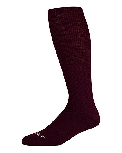 Pro Feet Multi-Sport Cushioned Acrylic Tube Socks, Maroon, Large/Size 10-13 ()