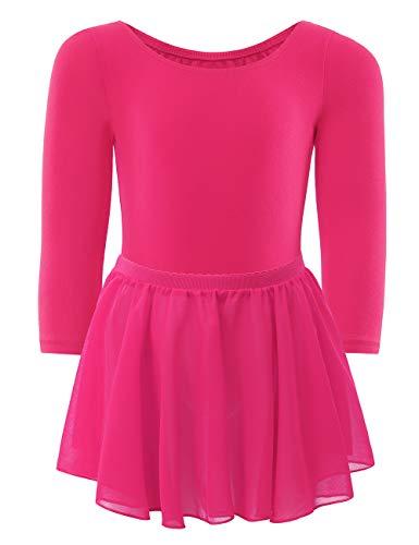 - WEGETIT Gymnastics Leotards for Girls Toddler Ballet Long Sleeve Dance Tutu (Hot Pink, 4-6 Years)