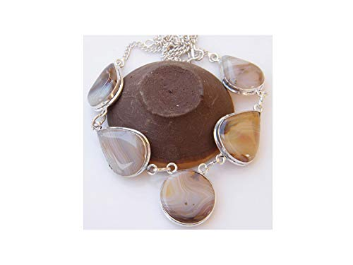 Surbhi Crafts Botswana Agate Necklace, Silver Plated Chain Necklace, Women Necklace, Brass Necklace AH-13950