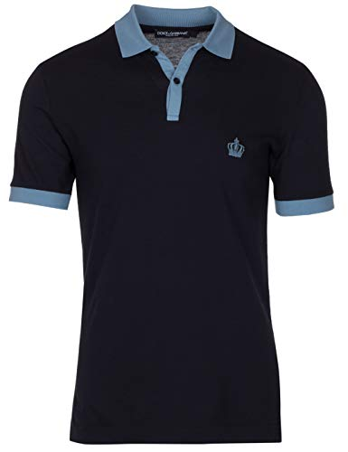 Dolce & Gabbana Men's Navy Crown 'Corona' Short Sleeve Contrast Polo Shirt, Navy, EU 48 / US S - Dolce & Gabbana Mens Clothing