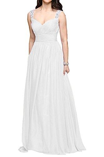 Chiffon Partykleider Abendkleider Linie A Festlichkleider Traeger Promkleider La Weiß mia Ballkleider Zwei Braut Wassermelon XYHqSw