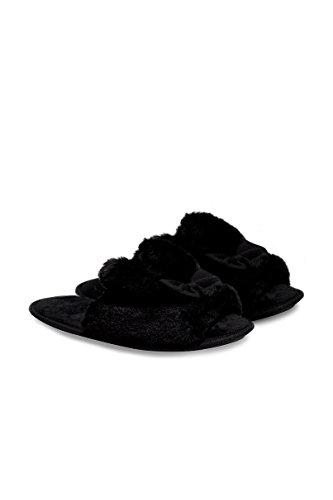 Tally Weijl Weiße, Flauschige Hausschuhe - Damen - Black