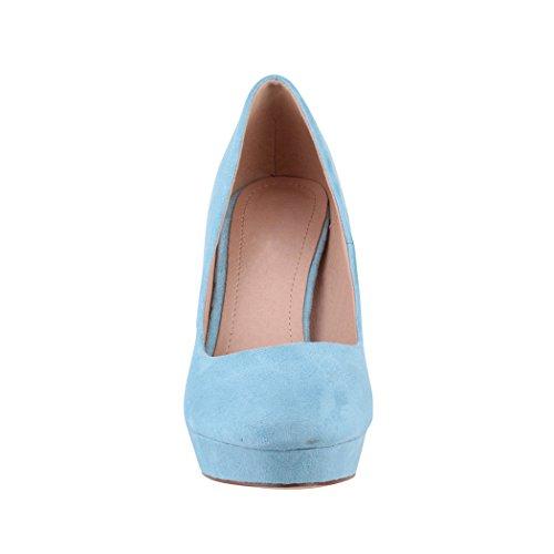 Elara a Lyon con alto donna scarpe da tacco con plateau pump Blau stiletto rwzaqAr