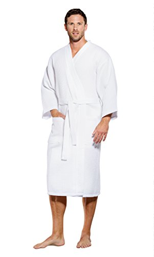 - Turquaz Linen Lightweight Long Waffle Kimono Spa Robe for Men (One Size, White)