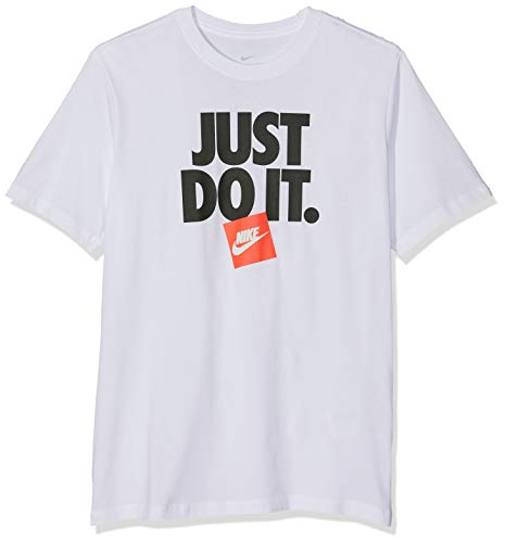 Nike Men's Sportswear Just Do It 3 Graphic Tee (White/White, Large)