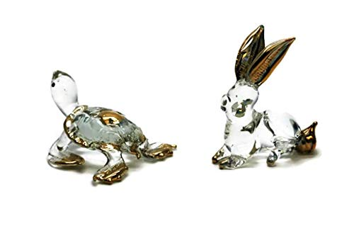 3 D Crystal Toy Gloden Rabbit and Tortoise Hand Bowl Glass Dollhouse Miniatures Decoration ()