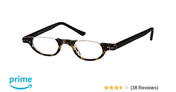 1ba721e96298 Amazon.com  The Hunter Colorful Retro Half Under Frame Rimless Round  Vintage Reading Glasses +1.50 Black and Tan Tortoise (Carrying Case  Included)  Health ...