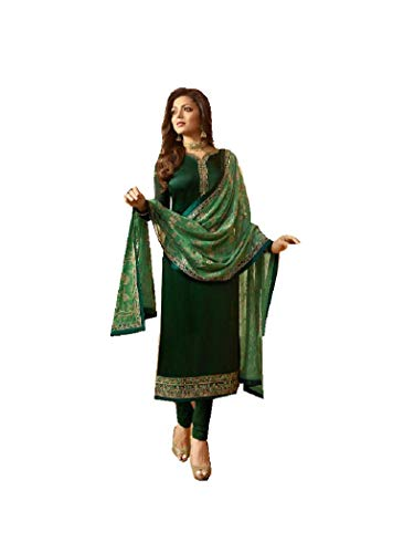Delisa Designer Wedding Partywear Silk Embroidered Salwar Kameez Indian Dress Ready to Wear Salwar Suit Pakistani LTN (Green, MEDIUM-40) - Green Salwar Kameez