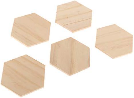 joyMerit 木片 木製プラーク ウッドサイン ウッド装飾 正方形 切り抜き木 六角形 ホビー用素材 5枚入り