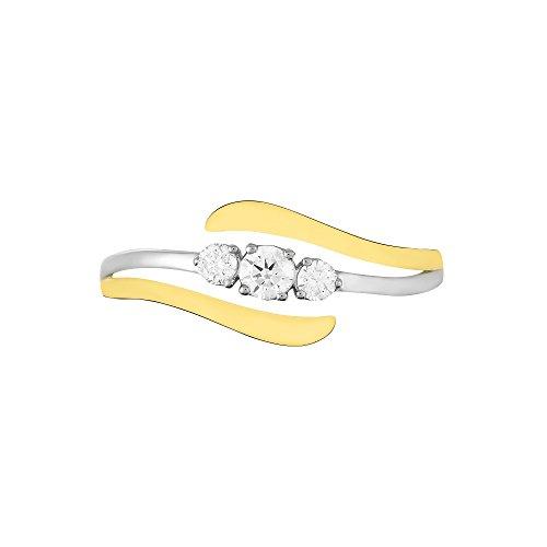 HISTOIRE D'OR - Bague Mayline Or Bicolore Diamant - Femme - Or 2 couleurs 375/1000