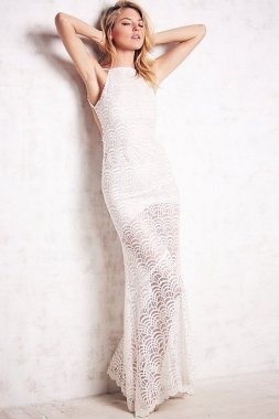 White Fish Scale Open-Back Lacy Long Evening Gown Prom Dress Ball Party Wear Dress
