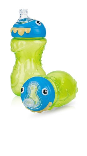 Nuby 3d Monster No Spill Super Spout Gripper Cup, 11 Ounce, 2 Count