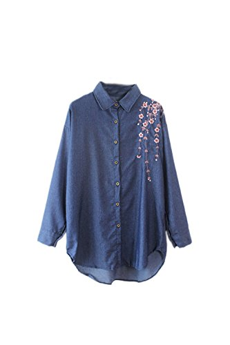 Zilcremo Women Elegant Long Sleeve Floral Embroidered Vintage Denim Blouse Shirt Top Blue One Size