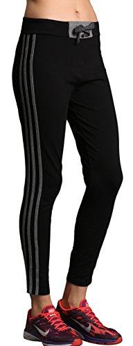 Keywee Women's Tights Workout Jogging Yoga Striped Legging (Medium, Grey&Black)