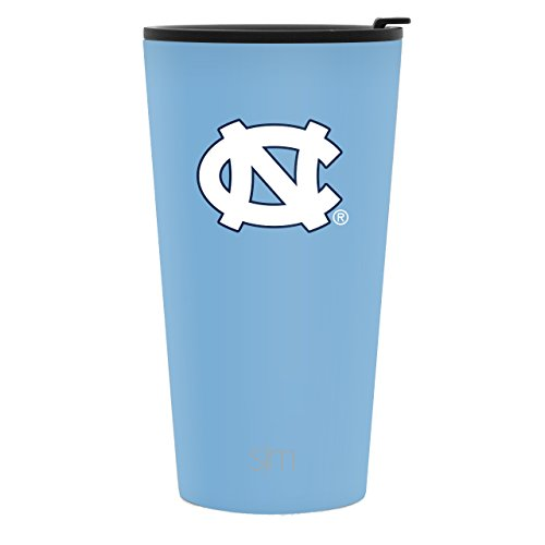 Simple Modern 16oz Pint Tumbler - North Carolina Tar Heels Vacuum Insulated 18/8 Stainless Steel Tailgating Cup Travel Mug - North Carolina (Unc Tar Heels Wall)