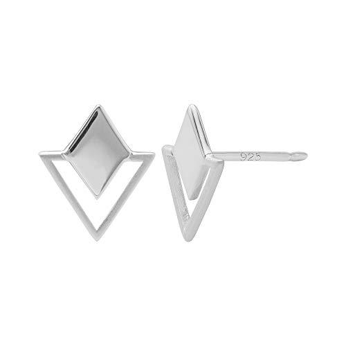 Boma Jewelry Sterling Silver Geometric Diamond & Triangle Stud Earrings