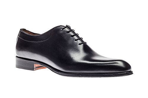 Jose Real Shoes Basoto Collection | Mens Oxford Black Genuine Real Italian Baby Calf Leather Dress Shoe | Size EU 45