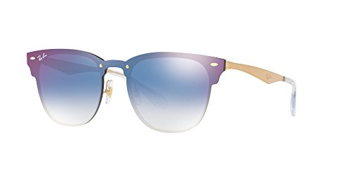 Ray-Ban the Blaze Non-Polarized Iridium Square Sunglasses, Brushed Gold, 41 - Club Ray Master Sunglasses Ban
