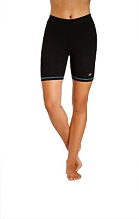 """In Touch ABSOLUTE Slim-Shape 5"""" Organic Cotton Hot Shorts with Neon Trim - Black, Small"""