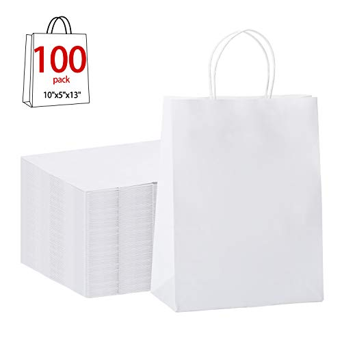 "GSSUSA 100Pcs 10"" x 5"" x 13"" Brown Kraft Paper Bags Gift Bags with Handles, Shopping Durable Reusable Merchandise Retail Bags (White)"
