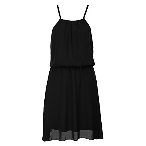 GRACE KARIN Women's Round Neck Front Pleated Chiffon Tank Party Dress Size 2XL Black