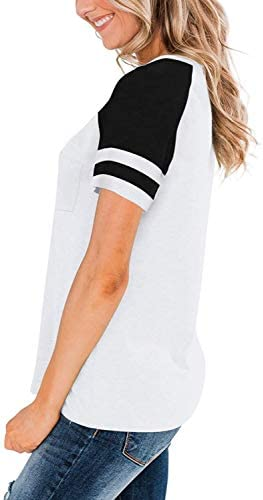 CHICZONE WOMENS V NECK RAGLAN SHORT SLEEVE T SHIRTS CASUAL SUMMER TOPS COLOR BLOCK TEES WITH POCKET