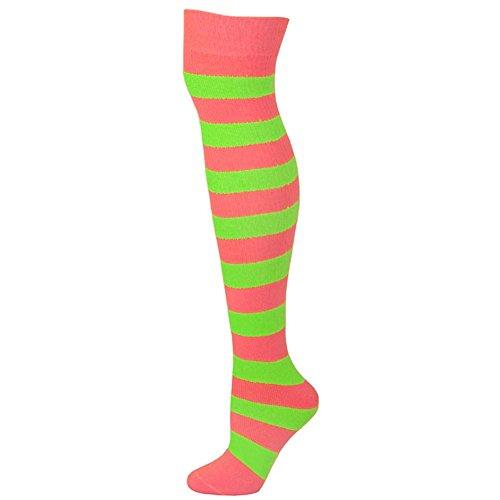 Striped Socks - hot Pink/Lime green