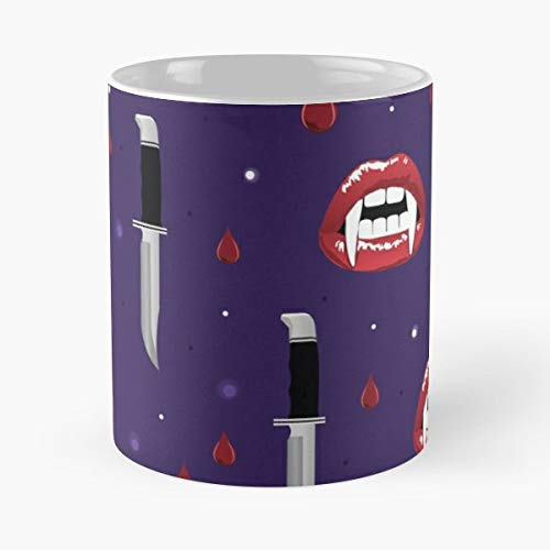 Halloween Vampire Blood Sang - 11 Oz Coffee Mugs Unique Ceramic Novelty Cup, The Best Gift For Halloween. -