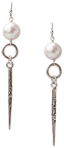 Chan Luu Sterling Silver with White Freshwater Baroque Pearl Spear Drop Earrings - Pearl Euro Wire Earrings