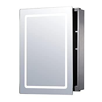 "HomCom 30"" x 21"" LED Sliding Bathroom Mirror / Medicine Wall Cabinet"