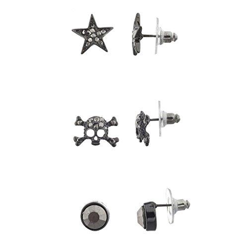 Lux Accessories Hematite Pave Punk Rock Skull Multi Earring Set (3PCS) ()