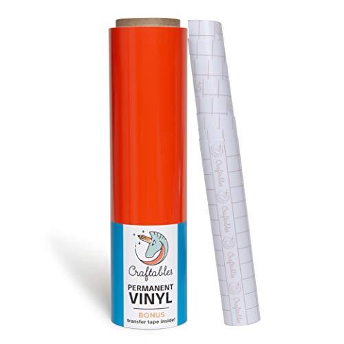 Craftables Orange Vinyl Roll - Permanent, Adhesive, Glossy & Waterproof | 12