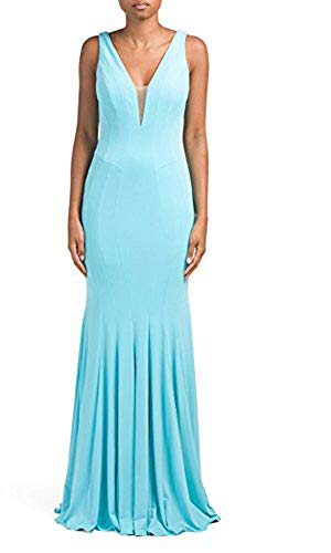 Jovani Long Gown Dress with Deep V-Neck, Robins Egg Blue - 8 ()