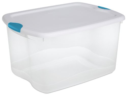 Sterilite 18888004 66 Quart/62 Liter Latch Box, See-through Base with White Lid and Blue Aquarium Latches, 4-Pack