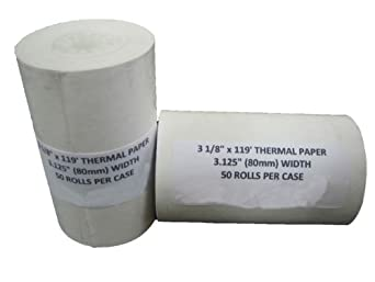 """100 rolls of 3 1/8"""" x 119' Thermal Paper Rolls for Credit Card Terminals"""