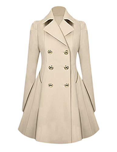 Tanming Women's Notch Lapel Double Breasted Mid Long Trench Coats (Khaki, Small) -