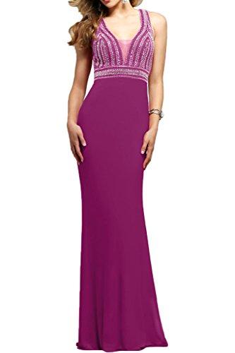 mit Ausschnitt Chiffon Braut Sommer Brautmutterkleider Damen mia Perlen Pink V Festlichkleider Lang La Abendkleider agUqzU