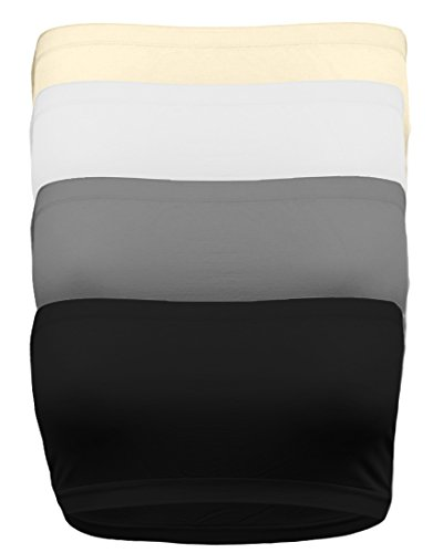 OLLIE ARNES One Size Strapless Seamless Stretchy Base Layer Bandeau Tube Top BLK_Char_WHT_TPE