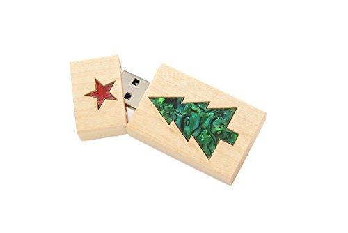 1 16GB USB 2.0 Maple Drive- Single Item - Grove Stick Body - Green Christmas Tree Inlaid