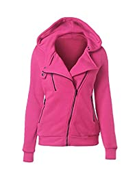 Womens Full Zip Sweatshirt Soft Solid Fleece Hooded Sweater Jacket