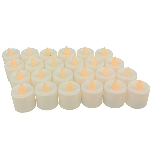 Midafon 24 Pcs LED Flameless Candles Votive Candles Flickering Tealight Candles Battery Operated Halloween Decoration ()