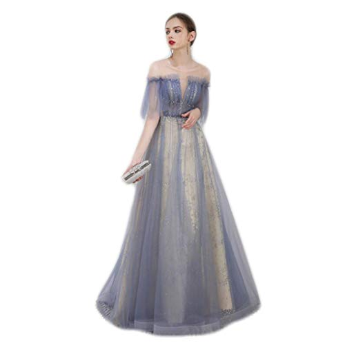 DAFREW Wedding Dress Bride Wedding Toast Clothing Word Collar mesh deep V-Neck Dinner Party Annual Meeting Dress Long Skirt Blue Dress (Color : Blue, Size : L)